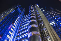 Llyod's Insurance Building. The famous Llyod's building in London by architect Richard Rogers. Night scene Royalty Free Stock Images