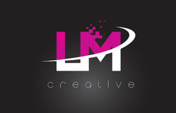 LM L M Creative Letters Design With White Pink Colors Royalty Free Stock Photo