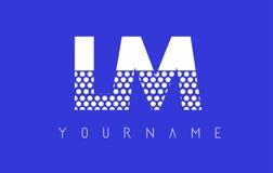 LM L M Dotted Letter Logo Design con el fondo azul Imagenes de archivo