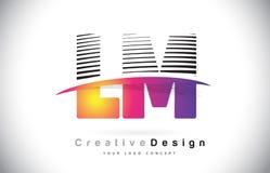 LM L M Letter Logo Design With Creative Lines et Swosh dans Purpl Photo libre de droits