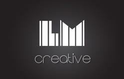 LM L M Letter Logo Design With White et lignes noires Image stock