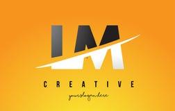 LM L M Letter Modern Logo Design avec le fond jaune et le Swoo illustration stock