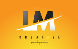 LM L M Letter Modern Logo Design with Yellow Background and Swoo. LM L M Letter Modern Logo Design with Swoosh Cutting the Middle Letters and Yellow Background Royalty Free Stock Photos