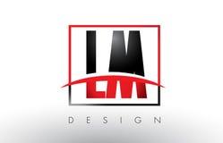 LM L M Logo Letters avec des couleurs et le bruissement rouges et noirs Images libres de droits