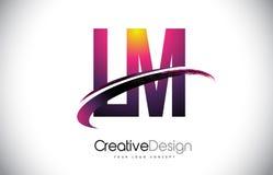 LM L M Purple Letter Logo avec la conception de bruissement Magenta créatif M Photographie stock libre de droits
