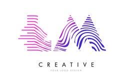 LM L M Zebra Lines Letter Logo Design avec des couleurs magenta Photos libres de droits