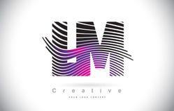 LM L M Zebra Texture Letter Logo Design With Creative Lines et Images libres de droits