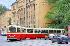LM-49. SAINT PETERSBURG, RUSSIA - MAY 26, 2013: Vintage russian tramway LM-49 takes part at the Retro Urban Transport Parade Royalty Free Stock Photography