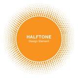 Élément de Sunny Circle Halftone Logo Design Icône de vecteur de Sun Photos stock
