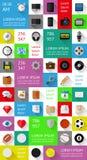 Éléments d'Ui, d'infographics et de Web comprenant d plat Photographie stock