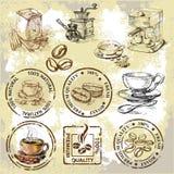 Éléments de café de vecteur Photo libre de droits