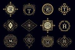 Éléments de conception de monogramme, calibre gracieux Image stock