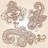 Éléments de conception de vecteur de tatouage de Mehndi de griffonnages de henné Images libres de droits