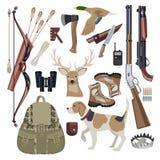 Éléments de scénographie d'icône de chasse Photos stock