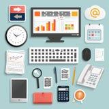 Éléments de travail d'affaires Photo stock