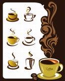 Éléments et ramassage de cuvette de café pour la conception Photo libre de droits