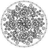 Éléments floraux décoratifs de modèle de mandala Photographie stock