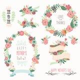 Éléments heureux du jour de mère Photo stock