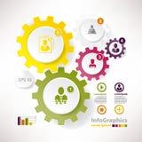 Éléments modernes de vecteur pour des roues dentées d'infographics Images libres de droits