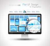Éléments plats de conception d'UI pour les éléments plats de conception de WUI pour le Web, Infographics Photos stock