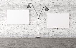 A lâmpada de assoalho e dois cartazes 3d rendem Imagem de Stock Royalty Free