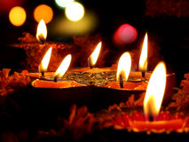 Lâmpadas do ritual de Diwali Fotos de Stock