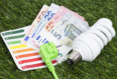 Lámpara ahorro de energía en gras verdes Imágenes de archivo libres de regalías