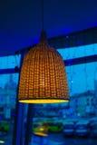 Lámpara de mimbre en el interior Fotos de archivo libres de regalías