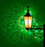 Lámpara árabe con las luces, tarjeta para Ramadan Kareem Imagenes de archivo