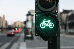 Lámpara verde del tráfico para la bicicleta Imágenes de archivo libres de regalías