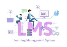 LMS, learning management system. Concept table with keywords, letters and icons. Colored flat vector illustration on royalty free illustration