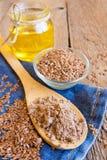 Lnów produkty proszek, ziarna, olej (,) fotografia stock