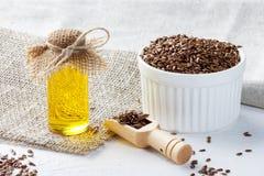 Lna ziarno i linseed olej zdjęcie royalty free