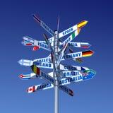 Länder und Markierungsfahnen Stockfoto