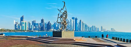 Lndmarks modernos de Doha, Catar Fotos de Stock Royalty Free
