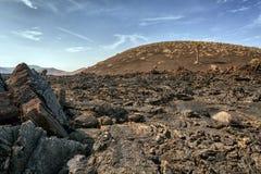 Lndscape de montanhas vulcânicas, Lanzarote, Ilhas Canárias Imagem de Stock