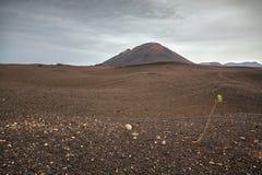 Lndscape de parc national de Timanfaya de montagnes volcaniques, Lanzarote, Îles Canaries Photographie stock libre de droits