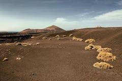 Lndscape de parc national de Timanfaya de montagnes volcaniques, Lanzarote, Îles Canaries Images stock