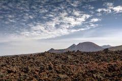 Lndscape do parque nacional de Timanfaya das montanhas vulcânicas, Lanzarote, Ilhas Canárias Fotografia de Stock