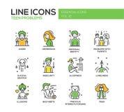 Línea adolescente iconos de los problemas del diseño fijados Imágenes de archivo libres de regalías
