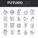 Línea al aire libre iconos de Futuro de la reconstrucción fijados Foto de archivo