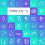 Línea Art Virtual Reality Icons Set del vector Fotos de archivo libres de regalías