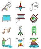 Línea arte de la afición de la pesca los iconos ligeramente y simplemente coloridos fijados Imagenes de archivo