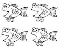 Línea arte de los pescados de la historieta Imágenes de archivo libres de regalías