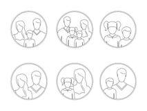 Línea-arte, siluetas de la gente, padres y niños, en el marco Foto de archivo libre de regalías