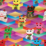 Línea colorida modelo inconsútil de Maneki Neko Chevron Fotografía de archivo libre de regalías