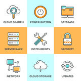 Línea computacional iconos de la nube fijados Fotos de archivo libres de regalías