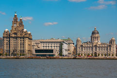 Línea de costa de Liverpool el al frente del embarcadero Imagen de archivo libre de regalías