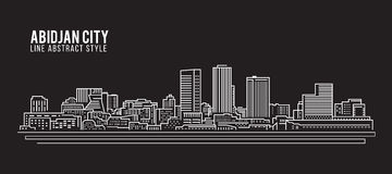 Línea de fachada del paisaje urbano diseño del ejemplo del vector del arte - ciudad de Abiyán Fotografía de archivo libre de regalías