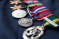 Línea de medallas Imágenes de archivo libres de regalías